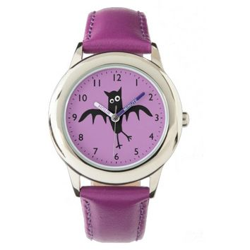 Funny quirky bat on purple background wristwatches