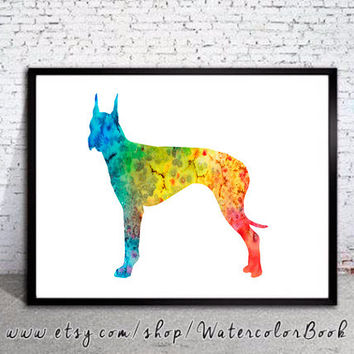 Great Dane 12 Watercolor Print, Great Dane Art, Home Decor, dog watercolor,watercolor painting,animal watercolor, Great Dane print,dog art
