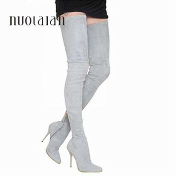 92a41611e342 2018 Brand Autumn Winter Women Boots Long Stretch Slim Thigh Hig