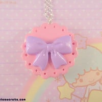 Fairy Kei Lolita Pastel Cookie Biscuit Bow Necklace (Pink)