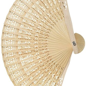[13060] Chinese Scented Wooden Openwork Fan