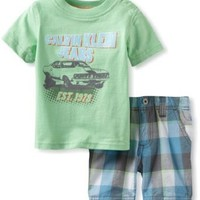 Calvin Klein Baby Boys' Tee With Plaided Short, Green, 12 Months