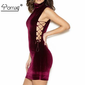 Yomay New Bandage Party Dress Plus Size Women Wine Red Velvet Bodycon Dress sleeveless turtleneck Side Lace Up lace zipper dress