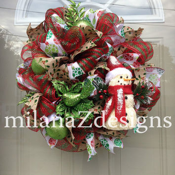 Snowman Wreath, Deco Mesh Christmas Wreath, Red and Green Decor, Sparkly Door Wreath, Winter Holidays, Holly Berries and Glittered Ribbon
