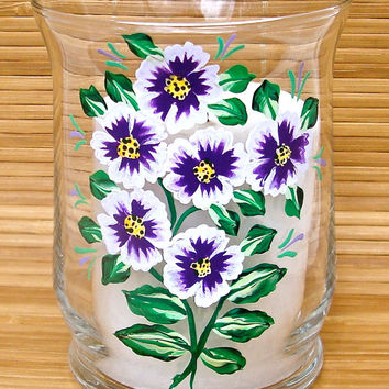 Hand Painted Glass Candle Holder With Purple Flowers, Home Decor