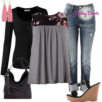 (pre-order) Set 405: Black Striped Sleeveless Top (incl. top, cardy & earrings)