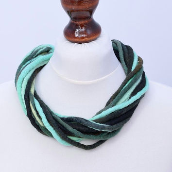 Multi strand necklace in turquoise & black - twisted fiber jewelry - multistrand twist rope necklace [N109]