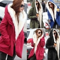 2015 Womens Fleece Warm Faux Fur Winter Coat Hooded Parka Overcoat Jacket = 1932163012