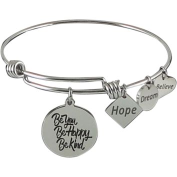 Expandable Bangle Be You Be Happy Be Kind