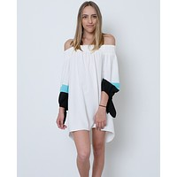 Hey There Off-The-Shoulder Dress - White