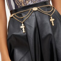 Gold Cross Pendant Drop Chain Belt
