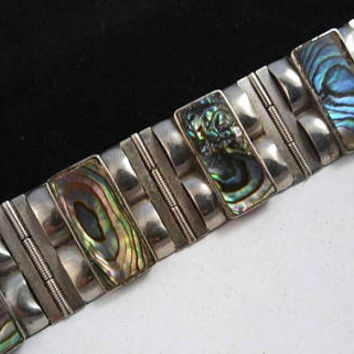 Vintage Abalone Silver Chunky Collectible Bracelet Mid Century 1940's 1950's Made In Mexico Mexican Southwestern Signed Jewelry