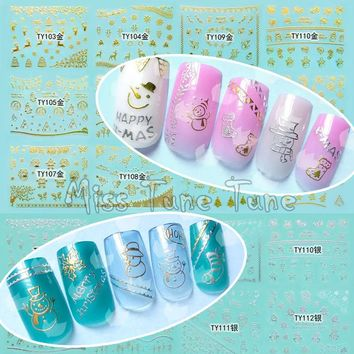 Christmas Large 3D Nail Art Nail Stickers Decal Tips Gold Silver Santa Xmas Tree Snowman Self-adhesive Festival Holiday
