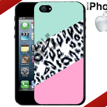 Geometric iPhone Case - White Leopard Mint and Pink - iPhone 4 Case or iPhone 5 Case