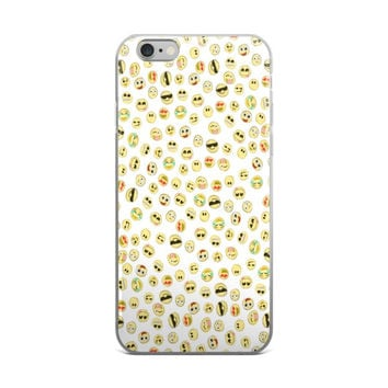 Cool Kids Smiley Face Shades & Crying Laughing Emoji Collage Cute Girly Girls White iPhone 4 4s 5 5s 5C 6 6s 6 Plus 6s Plus 7 & 7 Plus Case