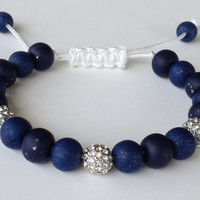 Shamballa Bracelet,  Polymer Clay Beads, Metallic Navy, Blue, 8mm Plated Crystal Pave Beads