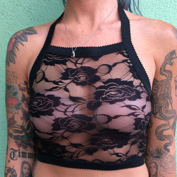 Black rose lace elastic stretch halter bralette, sheer cozy halter top bra, size small/medium