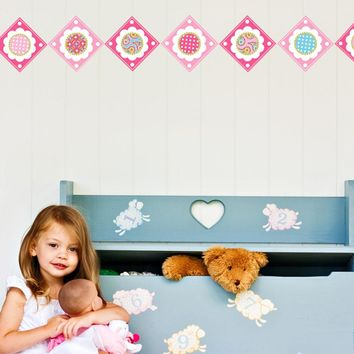 Pink Multicolor Flower Power Border Wall Decals