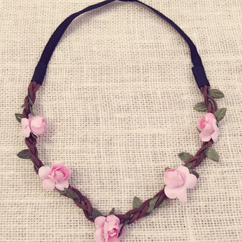 SALE - Pink Flower Headband, Flower Crowns, Coachella, Weddings, Birthdays