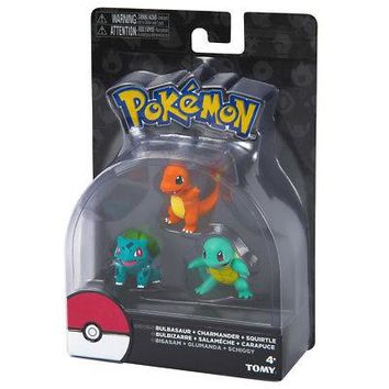 TOMY Pokemon Squirtle Charmander Bulbasaur 3 Pack Action Figure Set Authentic US
