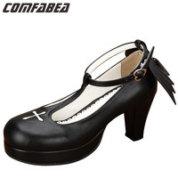 Round Toe T-Strap Cute Fashion Princess Platforms Sweet Wing Gothic COS Women High Heels Japanese Lolita Shoes Pumps