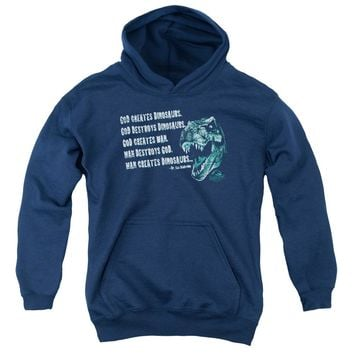 Jurassic Park - God Creates Dinosaurs Youth Pull Over Hoodie