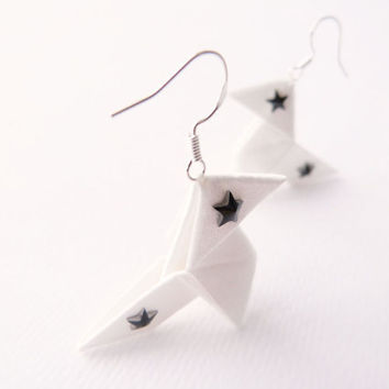Star Swarovski Origami earrings with white silk and sterling silver 925