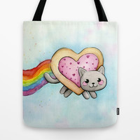 Nyan Cat LOVE Valentine Heart Tote Bag by Olechka