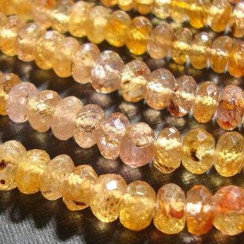 Gorgeous Genuine Pink Golden Imperial Topaz Faceted Lovely Rondelle, 25% sale, 1/2 Strand, 4 mm