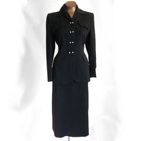 Vintage 50s Suit Black Wool Gabardine Tailored Hourglass Bombshell by Lyonelle Modes 36 Bust