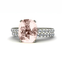Platinum Cushion Morganite Engagement Ring & Wedding Band Diamond Morganite Ring Wedding Set