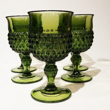 Set of 6 Green Diamond Point Goblets, Set of 6,Indiana Vintage Wine Glasses, Stemware