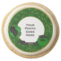 2015 Grad Smiley Frame, Green- Shortbread Cookies Round Premium Shortbread Cookie