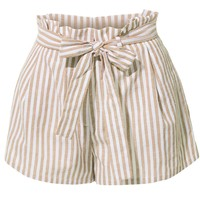 Casual Linen High Waisted Striped Short Pants with Belt