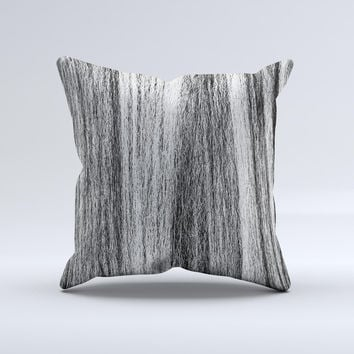 Black and Grey Frizzy Texture ink-Fuzed Decorative Throw Pillow