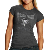 Old Time Hockey Pittsburgh Penguins Ladies Marina Triblend T-Shirt - Charcoal
