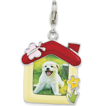 925 Sterling Silver Enamel and Plastic Pet Picture Frame Dangle Charm