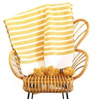 Moroccan Stripes & Tassels Throw - Yellow
