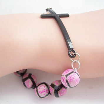 Black and Hot Pink Sideways Cross Bracelet, Christian Jewelry, Bohemian Bracelet, Cross Jewelry, Spiritual Bracelet, Christian Bracelet