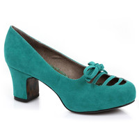Teal Microsuede Letty Cut Out Pumps