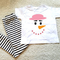 Girl's snowman Kids Tshirt. Sizes 2T, 3t, 4t, 5/6T, baby girls, toddler girls, girls holiday shirt, graphic shirt
