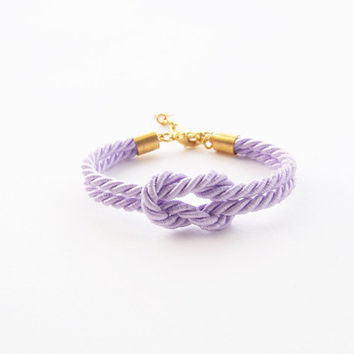 Lilac tie the knot bracelet - bridesmaid gift in lilac wedding -wedding gift- nautical bracelet - purple