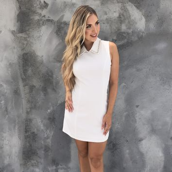 Jeweled Out Collared Shift Dress