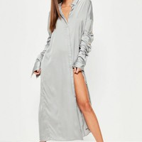 Missguided - Grey Satin Ruched Layered Sleeve Maxi Dress