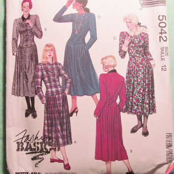 Sale Uncut 1990 McCall's Sewing Pattern, 5042! Size 12 Medium/Women's/Misses/Fashion Basics/Long Sleeve Dress/Collared Dress/Calf Length/For
