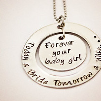 Mother or Father of the Bride - Hand Stamped Stainless Steel Necklace - Personalized  - Wedding Gift for Mom or Dad