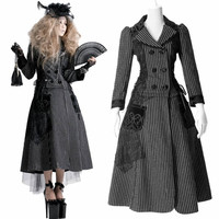 Black Silver Stripe Wool Blend Goth Burlesque Long Dress Jacket Coat SKU-11402226