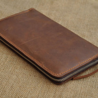 Genuine Long  Leather wallet with lagre zipper-Men wallet--Brown Leather purce-Instrument package -Passport Holder-2013