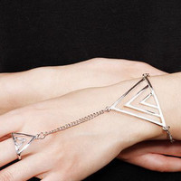 Silver Triangle Finger Ring Bracelet