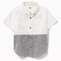 Color-Blocked Oxford Shirt for Toddler Boys|old-navy
